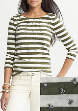 NWT Banana Republic New $49.50 Women Embellished Striped Tee Size PXS,PS,PM