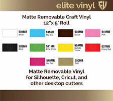 "12"" x 5' Roll Removable Adhesive Matte Vinyl for Crafts, Decals, Home Decor"