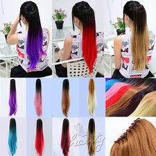 "Hot Colour 20"" Long Straight Dip-Dye Ombre Ponytail Clip In Hair Extension"