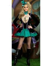 SEXY DELUXE MAD HATTER ALICE IN WONDERLAND FANCY DRESS BURLESQUE COSTUME OUTFIT