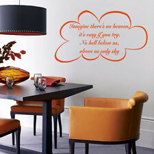 Imagine 2 (John Lennon) Lyric wall decal sticker quote