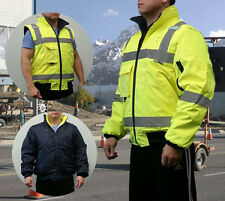 HI VIS ANSI/ISEA Class 3 Safety REVERSIBLE Weatherproof Bomber Jacket