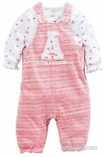 NEXT GIRLS PINK/WHITE A IS FOR AWESOME DUNGAREES & STRAWBERRY BODYSUIT OUTFIT