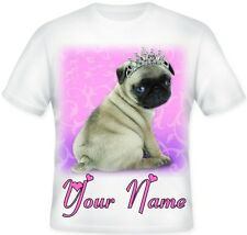 Girls Kids Personalised Pink Princess Pug  T Shirt Great Birthday Gift idea!!