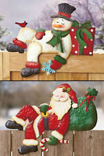 Holiday Fence Topper IN HAND Winter Christmas Snowman Santa Outdoor Yard Decor