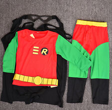 Batman Robin Boys Kids 4pc Costume Set Halloween Party Dress Up Outfit Cosplay