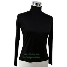 Pure Heavy Weight Silk Knit Women'S Turtle Neck Top