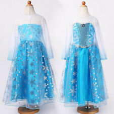 Girls Elsa Fancy Dress Outfit Frozen Costume Kids Ages 2/3/4/5/6/7/8/9/10/11/12