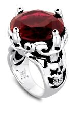Ed Hardy Authentic Royal Collection with Skull on Side Red Cubic Zirconia Ring