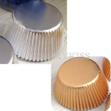 50x Cupcake Cake liners Cake Moulding Standing Paper Baking Cup Gold&Silver LJN