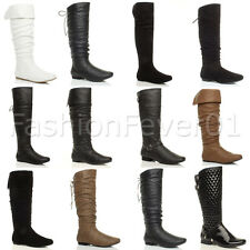 WOMENS LADIES FLAT FOLD OVER CUFF KNEE HIGH SLOUCH ZIP BIKER RIDING BOOTS SIZE