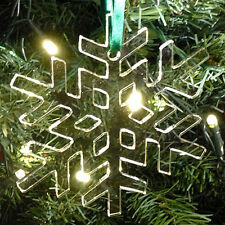 10Pk Acrylic Christmas Tree Decorations Various Colours - CRYSTAL SNOWFLAKE