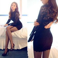 Sexy Black Lace Stretch Mini Dress Bodycon Cocktail Tight Cut Out Back
