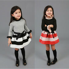 Christmas Korean Baby Girls Princess Kid Love Stripe Bow Solid Party Fancy Dress