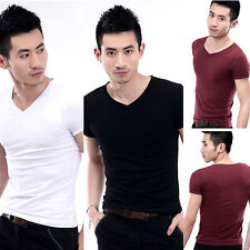New Men's V-Neck Short Sleeve Casual T-Shirt Slim Fit Tee Top Multicolor