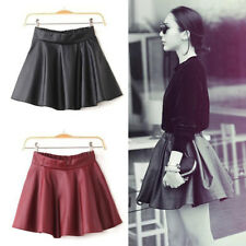 Sexy Fashion Womens Black Red Faux Leather Mini Skirt High Waist Pleated Skater