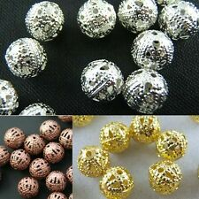 Wholesale Silver/Copper/Gold Plated Round Spacer Loose Beads DIY Jewelry 4/6/8mm