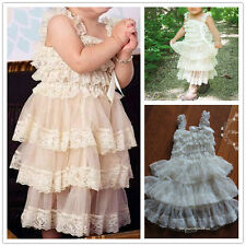 Flower Girl Cream Ivory Lace Chiffon Dress Princess Baby Party Wedding Gift