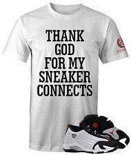 "Men's NEW Thank God Sneaker Tee to Match Jordan 14 XIV Retro ""Black Toe"" OG"