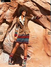 Desigual Embroidery Faux Suede Fur Jacket patchwork blazer coat vest wrap