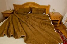 WOOL QUILT-CAMEL ribbon WOOL4YOU 2 PILLOWS FREE 175X200  DOUBLE LAYER  1200GSM