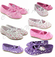 GIRLS KIDS SLIP ON HELLO KITTY CASUAL PARTY CANVAS DOLLY SHOE PUMPS SIZE 10-2