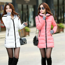 NEW Women's Down Jacket Long Coat Hooded Winter Big Fur Collar Warm Outerwear