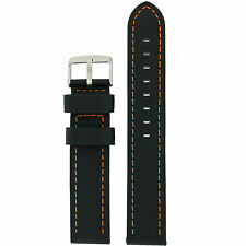 Watch Band Long Black Carbon Fiber Orange Stitching LEA643L
