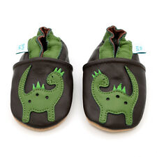 Dotty Fish Soft Leather Baby Shoes - Brown & Green Dinosaur - 0-6mths - 3-4yrs