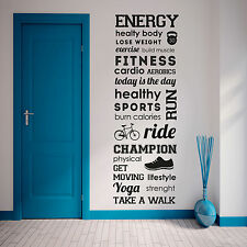 Energy healthy body fitness sport Mural Wall Sticker Quote Gym vinyl Decal