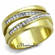 STAINLESS STEEL 316L 14K GOLD ION PLATED CRYSTAL ANNIVERSARY RING SIZES 5-10
