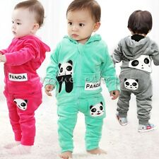 Toddler Baby Boy Girls Panda Hoodie Outerwear Top+Pant Outfit Set Clothing 6M-3T
