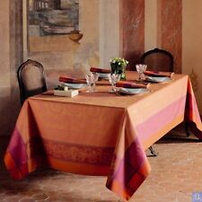 EXQUISITE GARNIER-THIEBAUT NYMPHEE TABLECLOTH IN PECHE ROSEE COLOR--GREEN SWEET