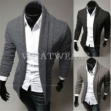 Mens Slim Fit Shawl Open Fashion Cardigan Jacket Style Coat Lapel Collar GBW