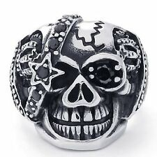 Gothic Skull Cubic Zirconia Stainless Steel Men's Biker Ring, Silver Black R739