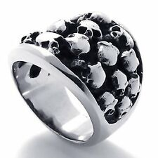 Gothic Stainless Steel Skull Biker Men's Ring, Silver Black R717