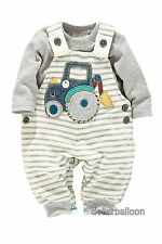 NEXT BOYS JERSEY TRACTOR GREY/CREAM DUNGAREES & GREY BODYSUIT OUTFIT/SET