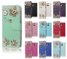 For HTC One M8 3D Bling Luxury Rhinestone Leather Flip Wallet Case  -Love Crown