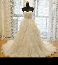 Ball Gown Wedding Dresses 2015 New Fashion Lace Up Bridal Gowns Ruffle Plus Size