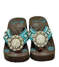 TURQUOISE BLUE MONTANA WEST BLING RHINESTONE CONCHO FLIP FLOPS SANDALS 8 9 10 11