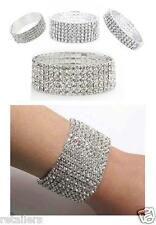 New Crystal Bracelet Diamante Rhinestone Multi Row Stretch Bridal Braclet