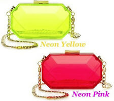 $148 Juicy Couture GEM MINAUDIERE See Through Crossbody Clutch in Neon Yellow
