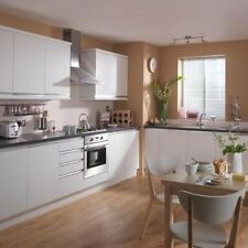 KITCHEN CABINETS BASE AND WALL UNITS, WITH DOORS AND HANDLES, WHITE HIGH GLOSS