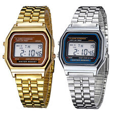 Classic Men Women Retro Stainless Steel LCD Digital Sports Stopwatch Wrist Watch