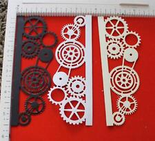 4 gear boarder made from black, white, and cream paper / joy craft die cuts