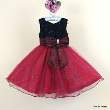 GIRLS PARTY DRESS-RED BLACK BURGUNDY-CHRISTMAS PRINCESS-BRIDESMAID-FLOWER GIRL