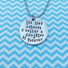 The Love Between a Mother and Daughter is Forever Disc Necklace Birthstone