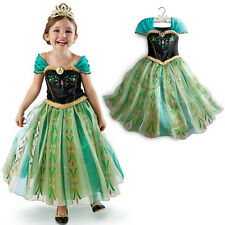 2014 New Kids Girl Dress Disney Frozen Princess Anna Cosplay Costume Fancy Dress