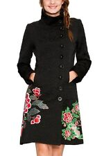 Desigual Black Coat dress blazer jacket mantel FLORAL flowers embroidery vest