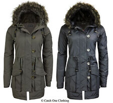 NEW WOMENS MILITARY FUR HOODED PADDED QUILTED PARKA JACKET COAT PLUS SIZE 8-22